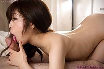 Long haired Komiyama Emi strips underwear and sucks cock