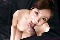 Pretty Yoshida Mio sucking cock on her knees licking cum fingers
