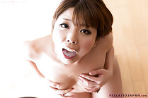 Yumesaki Kanon with her hands on her breasts cum on her chest cum in her mouth