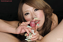 Babe Takaoka Aimi Gives Handjob And Licks Cum From Her Fingers