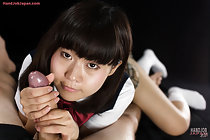 Kogal Kitahara Chiaki giving handjob in uniform and licking cum