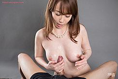 Kisaki Aya Looking Down At Spent Cock Between Her Tits