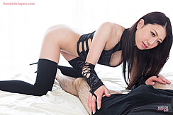 On All Fours Long Hair Hanging Down Wearing Black Stockings