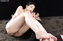 Ryu Enami teasing with bare feet knees drawn up labia exposed
