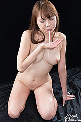 Kneeling Naked Spitting Cum Into Her Palm