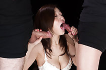 Breasty Ono Maria Sucks Two Cocks And Takes Cum In Her Mouth