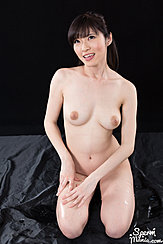 Yurikawa Sara Kneeling Nude Looking Up Nice Breasts Hands Resting On Her Thigh