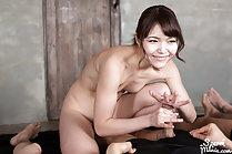 Aoi Shino milking cocks nude and watching men cum