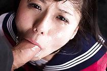 Kogal Araki Mai face fucked on her knees in uniform