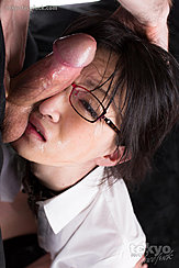 Mikami Ayaka With A Hard Cock Pressed To Her Face Wearing Glasses