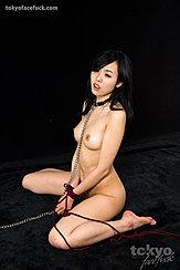 Yokoyama Natsuki Kneeling Naked Long Hair Down To Her Shoulders Pert Breasts Hands Tied Between Her Parted Thighs