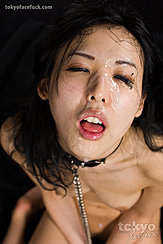 Long Haired Yokoyama Natsuki With Her Face Upturned Covered In Cum