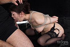 On Her Knees Leaning Forward Arms Bound Behind Her Back Face Fucked Wearing Stockings