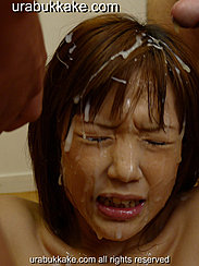 Hair Matted With Cum Bukkake Cum Dripping Down Her Face And Chin