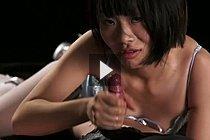 Short Haired Otohata Yuzuki Giving Handjob In Lingerie