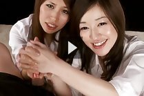 Office ladies Ono Maria and Suda Natsuki giving handjob together