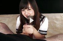 Long haired kogal Yamamoto Erena giving handjob on her knees