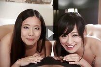 Fukatsu Miyuki and Kyouno Yui giving handjob together naked