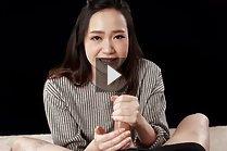 Pretty girlfriend Isaka Nao giving handjob wearing striped top