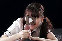 Cute student Araki Mai giving big cock handjob in uniform