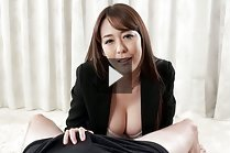 Busty Asagiri Akari strips jacket and gives handjob topless